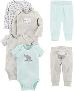 Carters 6 Pcs Bodysuits and Pants Set